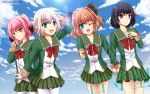 4girls :d ;d arm_up bangs black_hair black_ribbon blonde_hair blue_eyes blush brown_hair candy clouds cloudy_sky collarbone colored_tips cowboy_shot drawstring eyebrows_visible_through_hair food fur-trimmed_sleeves fur_trim green_eyes green_jacket green_skirt hachijou_(kantai_collection) hair_between_eyes hair_ribbon highres ishigaki_(kantai_collection) jacket kantai_collection kunashiri_(kantai_collection) lens_flare lollipop long_sleeves looking_at_viewer messy_hair multicolored_hair multiple_girls neck_ribbon one_eye_closed open_mouth orange_eyes pantyhose pink_hair pleated_skirt pom_pom_(clothes) red_eyes red_ribbon ribbon school_uniform serafuku shimushu_(kantai_collection) short_hair skirt sky smile tareme tenderlycreation tsurime two-tone_hair two_side_up white_legwear white_ribbon
