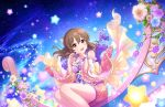 blush brown_hair dress hori_yuuko idolmaster_cinderella_girls_starlight_stage long_hair red_eyes wide_sleeves