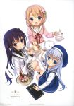 3girls absurdres black_hair black_legwear blue_eyes blue_hair blush brown_hair cherry coffee crossed_legs dress food from_above fruit gochuumon_wa_usagi_desu_ka? hair_ornament hairclip hat highres holding holding_spoon hoto_cocoa hoto_cocoa's_school_uniform kafuu_chino kafuu_chino's_school_uniform kneehighs koi_(koisan) latte_art long_hair looking_at_viewer looking_up menu multiple_girls official_art open_mouth page_number perspective plate ribbon scan school_uniform single_stripe sitting skirt spoon tedeza_rize tedeza_rize's_school_uniform thigh-highs tippy_(gochiusa) twintails violet_eyes white_legwear x_hair_ornament