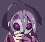 1boy bright_pupils close-up grey_outline looking_at_viewer male_focus mask onion_(pokemon) outline pokemon pokemon_(game) pokemon_swsh purple_background purple_hair simple_background solo violet_eyes wide_sleeves