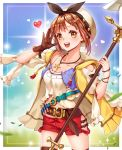 1girl :d arms_up atelier_(series) atelier_ryza bandolier bangs belt belt_buckle blue_sky blurry bracelet breasts brown_gloves brown_hair brown_legwear buckle cloak commentary_request contrapposto cowboy_shot crop_top day depth_of_field detached_sleeves eyebrows_visible_through_hair gloves hair_ornament hairclip hat hat_ribbon heart highres hip_vent holding holding_staff hood hood_down jewelry kostop leaf necklace open_cloak open_clothes open_hand open_mouth outdoors red_shorts reisalin_stout ribbon shirt short_hair short_shorts shorts sky small_breasts smile solo staff star star_necklace sun test_tube thigh-highs upper_teeth white_headwear white_shirt yellow_cloak yellow_eyes