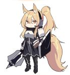 1girl animal_ear_fluff animal_ears arknights bangs black_dress black_footwear black_gloves boots breastplate brown_eyes chibi closed_mouth dress echj full_body gloves hair_between_eyes headphones headset high_heel_boots high_heels holding holding_weapon knee_boots light_brown_hair long_hair looking_at_viewer nearl_(arknights) pauldrons ponytail shield sidelocks simple_background solo tail weapon white_background