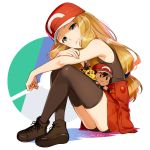 1girl baseball_cap bike_shorts black_legwear black_shirt black_shorts blonde_hair blue_eyes boots borrowed_garments brown_footwear character_doll closed_mouth crossed_arms hat kanimaru long_hair looking_at_viewer miniskirt pikachu pleated_skirt pokemon pokemon_(anime) red_headwear satoshi_(pokemon) serena_(pokemon) shiny shiny_hair shirt short_shorts shorts shorts_under_skirt skirt sleeveless sleeveless_shirt solo thigh-highs very_long_hair white_background zettai_ryouiki