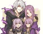 2boys 2girls :d absurdres ahoge arm_around_shoulder aura bare_shoulders black_gloves child coat commission family fire_emblem fire_emblem:_the_binding_blade fire_emblem_awakening fire_emblem_heroes gloves glowing glowing_eyes green_eyes grima_(fire_emblem) grin hand_on_shoulder heterochromia highres hood hood_down idunn_(fire_emblem) lavender_hair long_hair looking_at_viewer morgan_(fire_emblem) morgan_(fire_emblem)_(female) morgan_(fire_emblem)_(male) multiple_boys multiple_girls open_mouth pointy_ears purple_hair red_eyes ritence robin_(fire_emblem) robin_(fire_emblem)_(male) short_hair silver_hair smile standing upper_body
