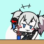 2girls animated artist_request blush_stickers coca-cola colt_m1873_(girls_frontline) girls_frontline lowres motion_lines multiple_girls pa-15_(girls_frontline) pepsi pouring to_be_continued twintails