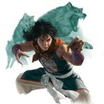 1boy black_hair brown_eyes dougi dragon_ball dragon_ball_(classic) fangs fighting_stance highres long_hair male_focus open_mouth sangsoo_jeong sidelocks simple_background smile solo white_background wolf yamcha