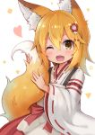 1girl animal_ear_fluff animal_ears blush brown_eyes brown_hair fang fox_ears fox_tail hair_ornament hakama hakama_skirt heart japanese_clothes miko one_eye_closed open_mouth senko_(sewayaki_kitsune_no_senko-san) sewayaki_kitsune_no_senko-san shirt short_hair simple_background siragagaga smile solo tail tail_hug upper_body white_background white_shirt
