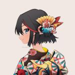 1girl 2019 bangs black_hair black_kimono blue_eyes closed_mouth commentary floral_print from_side grey_background hair_ornament highres japanese_clothes kill_la_kill kimono looking_at_viewer matoi_ryuuko mittsun multicolored_hair portrait print_kimono short_hair simple_background smile solo streaked_hair symbol_commentary twitter_username two-tone_hair