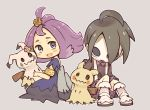 1boy 1girl acerola_(pokemon) ahoge armlet black_hair dress flower gen_7_pokemon grey_background gym_leader hair_ornament hairclip looking_at_another mask mimikyu onion_(pokemon) outline pokemon pokemon_(creature) pokemon_(game) pokemon_sm pokemon_swsh purple_hair rechain shorts simple_background sitting suspender_shorts suspenders trial_captain white_footwear white_outline