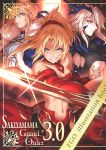 3girls armor artoria_pendragon_(all) artoria_pendragon_(lancer_alter) blonde_hair blue_cape blue_eyes braided_bun breasts cape clarent closed_mouth cover cover_page cowboy_shot detached_sleeves doujin_cover expressionless fate/apocrypha fate/grand_order fate_(series) fur-trimmed_cape fur_trim green_eyes grin hair_ornament hair_scrunchie highres holding holding_sword holding_weapon large_breasts legs_apart looking_at_viewer looking_away mordred_(fate) mordred_(fate)_(all) multiple_girls navel ponytail red_scrunchie red_sleeves saber sakiyamama scrunchie serious short_hair smile standing sword under_boob weapon yellow_eyes