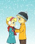 1boy 1girl adjusting_another's_clothes adjusting_scarf beanie blonde_hair blue_eyes brother_and_sister charlie_brown coat dress earmuffs gloves haku_le hat peanuts scarf short_hair siblings snow winter winter_clothes winter_coat
