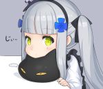 ... 1girl black_cat blush cat commentary_request facial_mark girls_frontline green_eyes grey_background grey_hair hair_ornament hairband hk416_(girls_frontline) looking_at_viewer parted_lips ran_system sidelocks simple_background spoken_ellipsis twintails younger