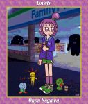 alternate_costume ancodia10 artist_name border bubble_tea convenience_store flat_chest gym_shorts highres hood hoodie majo_rika monogram ojamajo_doremi patterned_background purple_hair segawa_onpu shoes shop shorts sneakers title violet_eyes