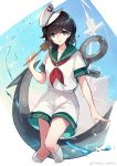 1girl :d anchor anchor_symbol artist_name bangs black_hair chinese_commentary commentary_request cropped_legs eyebrows_visible_through_hair feet_out_of_frame green_eyes green_sailor_collar hair_between_eyes hand_up hat highres hishaku holding kneehighs looking_at_viewer murasa_minamitsu neckerchief open_mouth red_neckwear sailor_collar sailor_hat sailor_shirt sam_ashton ship shirt short_hair shorts smile solo thighs touhou water_drop watercraft weibo_logo weibo_username white_background white_headwear white_legwear white_shirt white_shorts