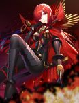 1girl bangs black_bodysuit black_footwear black_gloves blurry blurry_foreground blush bodysuit boots breasts cape commentary_request depth_of_field eyebrows_visible_through_hair fate/grand_order fate_(series) fire gloves hair_over_one_eye high_heel_boots high_heels highres holding holding_sword holding_weapon katana knee_up large_breasts long_hair looking_at_viewer oda_nobunaga_(fate) oda_nobunaga_(maou_avenger)_(fate) parted_lips red_cape red_eyes redhead ririko_(zhuoyandesailaer) solo sword v-shaped_eyebrows very_long_hair weapon