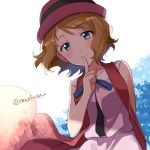 1girl arm_behind_back black_ribbon blue_eyes blue_ribbon blush brown_hair closed_mouth eyebrows_visible_through_hair finger_to_mouth hat hat_ribbon index_finger_raised kanimaru looking_at_viewer neck_ribbon pink_headwear pink_shirt pink_skirt pokemon pokemon_(anime) ribbon serena_(pokemon) shiny shiny_hair shirt short_hair simple_background skirt sleeveless sleeveless_shirt smile solo standing twitter_username white_background