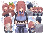 1boy :t apron bangs black_hair blue_apron blue_cardigan blue_eyes blush brown_hair burnt_food cardigan commentary_request eyebrows_visible_through_hair go-toubun_no_hanayome hair_between_eyes hair_ribbon headphones headphones_around_neck heart highres long_hair long_sleeves multiple_girls nakano_miku nakano_yotsuba open_mouth orange_hair paper petting ribbon shirt short_hair smile suzuki_toto translation_request uesugi_fuutarou white_shirt