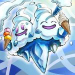 eyes_closed food gen_5_pokemon ice ice_cream ice_cream_cone kaosu_(kaosu0905) no_humans pokemon pokemon_(game) pokemon_bw vanilluxe