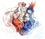 2girls ascot bangs blue_dress blue_hair blue_headwear bow brown_footwear chibi commentary_request dress eye_contact eyebrows_visible_through_hair from_side fujiwara_no_mokou hair_bow kamishirasawa_keine long_hair looking_at_another low-tied_long_hair multicolored_hair multiple_girls ofuda pants pinafore_dress piyokichi profile puffy_short_sleeves puffy_sleeves red_eyes red_neckwear red_pants shirt shoes short_sleeves sidelocks silver_hair simple_background sketch streaked_hair suspenders torn_clothes torn_sleeves touhou very_long_hair white_background white_bow white_shirt wrist_cuffs