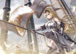 1girl armor armored_boots armored_dress bae.c bangs blonde_hair blue_eyes blue_sky blurry blurry_background boots closed_mouth clouds commentary_request day depth_of_field dress eyebrows_visible_through_hair fate/grand_order fate_(series) flag fur-trimmed_legwear fur_trim gauntlets hair_between_eyes headpiece holding holding_flag holding_sword holding_weapon jeanne_d'arc_(fate) jeanne_d'arc_(fate)_(all) one_knee outdoors pillar purple_legwear sky solo sword thigh-highs weapon white_dress