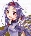 1girl :d ahoge alto2019 breastplate brown_background detached_sleeves fingerless_gloves floating_hair gloves hair_intakes headband long_hair long_sleeves looking_at_viewer marker_(medium) open_mouth outstretched_hand purple_gloves purple_hair purple_sleeves red_eyes red_headband sample shiny shiny_hair smile solo sword_art_online traditional_media two-tone_background white_background yuuki_(sao)