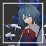 1girl absurdres blue_bow blue_dress blue_eyes blue_hair border bow cirno collared_shirt dress eyebrows_visible_through_hair eyes_visible_through_hair frown grey_background hair_bow highres hisha_(kan_moko) ice ice_wings long_sleeves looking_to_the_side neck_ribbon red_neckwear ribbon shiny shiny_hair shirt short_hair sidelocks simple_background solo touhou tsurime upper_body white_border white_shirt wing_collar wings