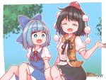 2girls :d arm_up artist_name bangs belt black_hair black_skirt blue_dress blue_eyes blue_hair blue_sky bright_pupils cirno closed_eyes commentary day dress eyebrows_visible_through_hair facing_viewer feet_out_of_frame hat highres knees_up leaf_print looking_at_another multiple_girls open_hand open_mouth outdoors petticoat pinafore_dress pom_pom_(clothes) puffy_short_sleeves puffy_sleeves red_headwear red_neckwear red_ribbon ribbon shameimaru_aya shirt short_hair short_sleeves sitting skirt sky smile tokin_hat touhou tree two-tone_shirt untucked_shirt white_pupils white_shirt wide-eyed zanasta0810