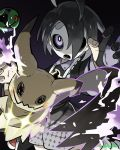 1boy absurdres ahoge arm_up artist_name black_hair black_shirt bright_pupils diffraction_spikes dusk_ball gen_8_pokemon gloves gradient gradient_background gym_leader highres looking_at_viewer male_focus mask onion_(pokemon) p_la_s_ma partly_fingerless_gloves poke_ball pokemon pokemon_(creature) pokemon_(game) pokemon_swsh purple_background ringed_eyes shirt shorts simple_background single_glove solo suspender_shorts suspenders violet_eyes