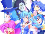 1boy 5girls :3 :o ;d animal_ears bakenyan_(precure) black_neckwear blue_cat blue_gloves blue_hair blue_headwear blue_shirt blush_stickers braid bun_cover cat_ears choker closed_mouth cure_cosmo double_bun elbow_gloves extra_ears furry gloves green_eyes hat highres long_hair mao_(precure) monocle multicolored_hair multiple_girls multiple_persona one_eye_closed open_mouth orange_eyes pink_hair pointy_ears precure purple_hair shirt shiruppo simple_background sleeveless sleeveless_shirt smile star_twinkle_precure streaked_hair surprised tongue tongue_out top_hat twin_braids two-tone_hair upper_body whiskers white_background yuni_(precure)