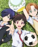 3boys ace_suzuki ball blue_eyes blue_hair brown_hair from_above glasses grass green_eyes grin hair_over_one_eye highres jinnai_enta kuji_toi looking_at_viewer multiple_boys necktie on_grass outstretched_hand purple_hair red_eyes round_eyewear sarazanmai school_uniform smile soccer_ball sweater_vest telstar yasaka_kazuki
