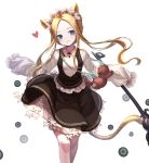 1girl abigail_williams_(fate/grand_order) animal_ears bangs black_dress blonde_hair bloomers blue_eyes blush braid breasts butterfly_hair_ornament cat_ears cat_girl cat_tail closed_mouth commentary_request dress fate/grand_order fate_(series) forehead hair_ornament head_tilt heart highres kemonomimi_mode keyhole long_hair long_sleeves pantyhose parted_bangs shirt simple_background sleeveless sleeveless_dress sleeves_past_fingers sleeves_past_wrists small_breasts smile solo stuffed_animal stuffed_toy sun_miru tail teddy_bear tentacles underwear very_long_hair white_background white_bloomers white_legwear white_shirt
