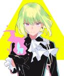 1boy black_gloves black_jacket blonde_hair cravat earrings fire gloves green_hair half_gloves highres jacket jewelry lio_fotia looking_at_viewer lq_saku male_focus outstretched_hand promare solo violet_eyes