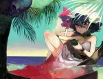 1girl bangs bare_shoulders bat_wings beach black_choker blue_hair cellphone choker closed_mouth cross dress hair_between_eyes hat hat_ribbon highres holding holding_phone mafuyu_hemp mob_cap outdoors palm_tree phone pink_eyes pink_ribbon remilia_scarlet ribbon sash short_hair sky smartphone solo strapless strapless_dress touhou tree water white_dress white_headwear wings wristband
