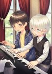 2boys alk blonde_hair blue_eyes blush brown_eyes brown_hair hair_between_eyes highres hood hoodie instrument looking_at_another male_focus multiple_boys original piano shirt sweatdrop sweater_vest vest