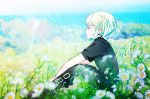 1boy black_pants black_shirt bob_cut clouds day field flower flower_field green_hair highres lio_fotia male_focus nature noroshika outdoors pants promare shirt sitting sky solo violet_eyes