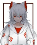 1girl :/ absurdres alternate_costume bangs border bow collarbone eyebrows_visible_through_hair fujiwara_no_mokou hair_between_eyes hair_bow hands_in_pockets highres hisha_(kan_moko) hood hoodie long_hair looking_at_viewer ofuda orange_eyes red_eyes red_shirt shirt simple_background sketch slit_pupils solo touhou tsurime upper_body very_long_hair white_background white_bow white_hair zipper