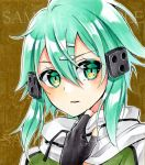1girl alto2019 aqua_hair black_gloves brown_background fingerless_gloves gloves green_eyes hair_between_eyes hair_ornament hairclip looking_at_viewer lowres marker_(medium) parted_lips portrait sample scarf shiny shiny_hair short_hair_with_long_locks sidelocks sinon solo sword_art_online traditional_media white_scarf
