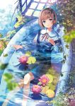 1girl bandaid bathtub blue_eyes blush brown_hair eyebrows_visible_through_hair flower hair_ornament hairclip hanekoto highres looking_at_viewer lying on_back open_mouth original partially_submerged pleated_skirt ruins school_uniform short_hair skirt solo