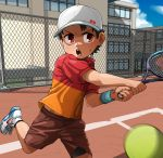 1boy ball brown_hair fence highres kaminosaki1 open_mouth original outdoors racket red_eyes shoes shorts sneakers sportswear sweatdrop tennis tennis_ball tennis_court tennis_racket tennis_uniform