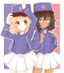 2girls adjusting_clothes adjusting_headwear andou_(girls_und_panzer) artist_name bangs bc_freedom_(emblem) bc_freedom_military_uniform black_hair blonde_hair blue_eyes blue_headwear blue_jacket blue_vest brown_eyes closed_mouth commentary cowboy_shot dark_skin dress_shirt emblem flag_background french_flag girls_und_panzer hat high_collar highres jacket long_sleeves looking_at_viewer medium_hair messy_hair military military_hat military_uniform miniskirt multiple_girls oshida_(girls_und_panzer) outline pleated_skirt shako_cap shino_(sn_kmn) shirt side-by-side signature skirt smile standing uniform vest white_outline white_shirt white_skirt