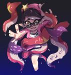 1girl aori_(splatoon) beanie black_hair black_shorts chinese_commentary commentary_request constricted_pupils domino_mask eyebrows_visible_through_hair fangs frown hat long_hair long_sleeves looking_at_viewer looking_over_eyewear madaga_(animaofmoon) mask mole mole_under_eye open_clothes open_mouth open_shirt pink_headwear pink_shirt pointy_ears reaching_out restrained scared shirt shorts solo splatoon_(series) splatoon_2 star_hat_ornament tearing_up tentacle_hair tentacles white_shirt