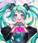 1girl artist_name bare_shoulders blue_hair blue_nails blue_neckwear blush breasts commentary detached_sleeves eyebrows_visible_through_hair eyelashes fingernails floating_hair grey_shirt happy happy_birthday hatsune_miku heart heart_hands long_hair looking_at_viewer necktie open_mouth round_teeth shirt simple_background sleeveless sleeveless_shirt small_breasts smile solo striped striped_background tabby_chan teeth twintails upper_body upper_teeth very_long_hair vocaloid white_background