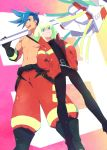 2boys belt blue_eyes blue_hair boots c_kihara chest galo_thymos gloves green_hair hand_in_pocket holding holding_weapon jacket lio_fotia male_focus matoi multiple_boys open_mouth pants polearm promare shirt shirtless smile spear spiky_hair violet_eyes weapon