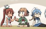 3girls bag black_ribbon blonde_hair blue_eyes blue_hair blue_neckwear blue_ribbon blush brown_hair candy chibi closed_eyes closed_mouth commentary dress eyebrows_visible_through_hair fan food gradient gradient_background gradient_hair green_jacket green_skirt hachijou_(kantai_collection) hair_ribbon hamu_koutarou hat highres jacket kantai_collection libeccio_(kantai_collection) lollipop long_hair long_sleeves looking_at_viewer mini_hat multicolored_hair multiple_girls neckerchief open_mouth pantyhose pleated_skirt red_eyes red_neckwear ribbon sado_(kantai_collection) sailor_dress sailor_hat school_uniform serafuku short_hair sitting skirt sleeveless smile twintails