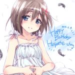 1girl black_feathers blue_eyes blush brown_hair character_name commentary dated dress english_text eyebrows_visible_through_hair hair_ornament happy_birthday head_tilt highres kuroi_mimei lips looking_at_viewer lyrical_nanoha mahou_shoujo_lyrical_nanoha mahou_shoujo_lyrical_nanoha_a's medium_dress notice_lines parted_lips short_hair smile solo sundress upper_body wind wind_lift x_hair_ornament yagami_hayate