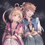 bamboo djeeta_(granblue_fantasy) earrings gran_(granblue_fantasy) granblue_fantasy jewelry milli_little night night_sky sitting sketch sky tanabata