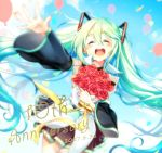 1girl 2017 :d ^_^ anniversary balloon black_skirt blue_hair blue_sky blurry blush bouquet closed_eyes clouds cloudy_sky confetti cowboy_shot dated day depth_of_field detached_sleeves dutch_angle eyebrows_visible_through_hair floating_hair flower hair_between_eyes happy hatsune_miku holding holding_bouquet holding_flower long_hair maronie. open_mouth outdoors outstretched_arm pleated_skirt red_flower red_rose ribbon rose round_teeth shirt skirt sky sleeveless sleeveless_shirt smile solo teeth thigh-highs twintails upper_teeth very_long_hair vocaloid white_shirt yellow_ribbon zettai_ryouiki