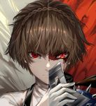 1girl absurdres angry bangs blood blood_on_face braid brown_hair closed_mouth crown_braid face gloves glowing glowing_eye highres holding holding_mask huijin_zhi_ling looking_at_viewer mask mask_removed niijima_makoto persona persona_5 red_eyes scarf shiny shiny_hair short_hair shoulder_spikes solo spikes turtleneck v-shaped_eyebrows