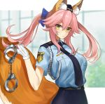 1girl aiguillette animal_ear_fluff animal_ears bangs belt blue_bow blue_neckwear blue_shirt blue_skirt blush bow breasts closed_umbrella cuffs ero_waifu fate/extella fate/extella_link fate/extra fate_(series) fox_ears fox_girl fox_tail garrison_cap gloves hair_between_eyes hair_bow handcuffs hat large_breasts long_hair looking_at_viewer necktie pencil_skirt pink_hair police police_uniform policewoman shirt short_sleeves sidelocks skirt solo tail tamamo_(fate)_(all) tamamo_no_mae_(fate) twintails umbrella uniform white_gloves yellow_eyes