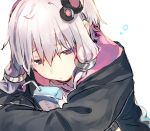 arm_rest check_commentary close-up commentary commentary_request crossed_arms drinking_straw hair_ornament half-closed_eyes hitogome holding_drink hood hoodie juice_box leaning_forward purple_hair short_hair_with_long_locks sidelocks sleepy upper_body violet_eyes vocaloid voiceroid yuzuki_yukari